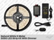 Epistar Natural White 5 Meter 5050 LED Strip kit with Dimmer