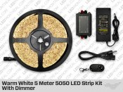Single Color Warm White 5 Meter 5050 LED Strip Bundle With Dimmer