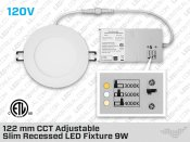 121 mm CCT Adjustable Slim Recessed LED Fixture 9W