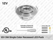 Rondelle LED 69mm 12V 3W de Couleur Unique. Calibre professionnel