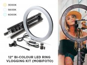 "12"" Bi-Color LED Ring Vlogging Kit (Mobifoto)"
