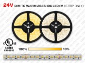 24V 5m iP20 2835 White Dim to Warm LED Strip - 196 LEDs/m (Strip Only)