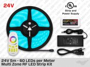 24V 5m iP65+ Multi Zone High Output RGB 5050 LED Strip Kit - 60 LEDs/m