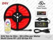 24V 5m to 10m iP65+ High Output RGB 5050 LED Strip Kit - 30 LEDs/m