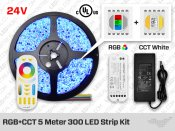 24V RF Multi Zone RGB+CCT White 300 LED Strip Kit