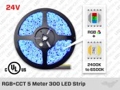 24V 5m iP20 RGB+W CCT 5050 LED Strip - 60 LEDs/m (Strip Only)