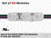 UR Certified Set of 50+ ip67 5050 RGB LED Modules ( 0.72W per Module )