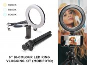 "6"" Bi-Color LED Ring Portable Vlogging Kit MOBIRL6 (Mobifoto)"