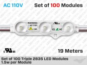AC 120V - Set of 100 Triple 2835 Epistar LED Modules ( 1.5w per Module )