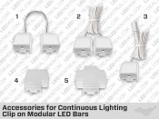 Accessories for Continuous Lighting Clip on Modular LED Bars – Single Color