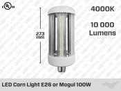 Corn Light 100W E26 LED Light Bulb - Non Dimmable - PLYC7124