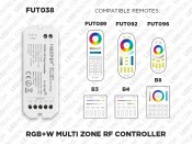 1 to 8 Zones Self repeating RF RGB+W LED controller (FUT 038)