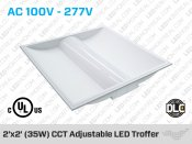35W 2'x2' LED Troffer CCT & Watt Adjustable - Dimmable