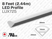 LUX725 8 feet interior and exterior 45 degree aluminum profile for LED Strip