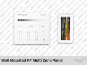 Wall Mounted RF Multi Zone Panel and-or Controller for Single Color LED Strip