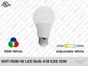 WiFi RGB+W LED Bulb A19 E26 10W