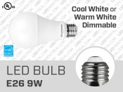 9W Dimmable E26 LED Light Bulb (A21)