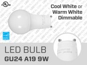9W Dimmable GU24 LED Light Bulb (A19)
